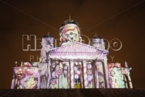 Artistic Lighting on Helsinki Cathedral at the Lux Helsinki 2016 Festival - Henri Pero Photography