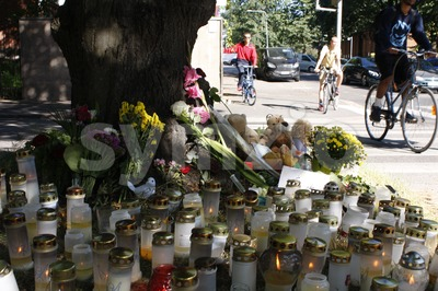 Car Accident Memorial Stock Photo