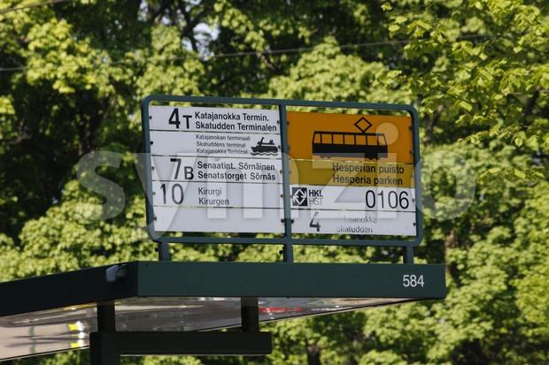 Tram stop sign in Helsinki, Finland.