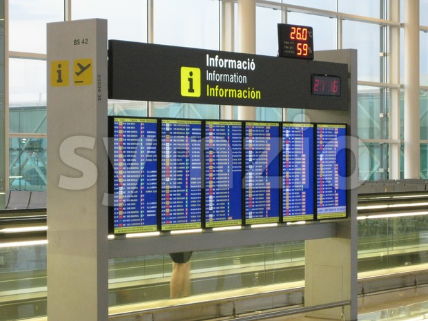 Airport Departures Information Board Stock Photo