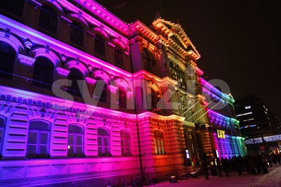 Artistic Lighting on Ateneum at the Lux Helsinki 2016 Festival Stock Photo