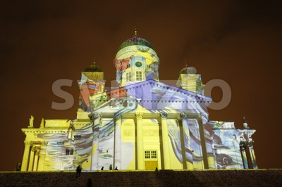 Artistic Lighting on Helsinki Cathedral at the Lux Helsinki 2016 Festival Stock Photo