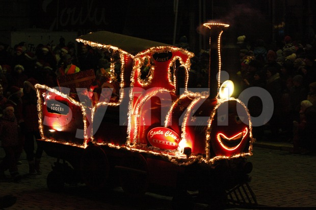 Christmas train on St Lucy's Day (December 13) in Helsinki, Finland