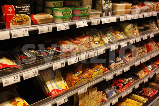 Finnish grocery store Siwa's convenience food shelf
