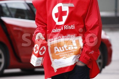Finnish Red Cross Voluntary Stock Photo