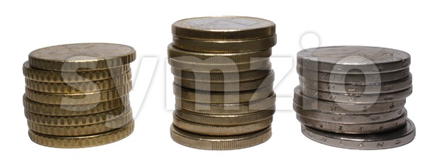 Euro Coin Stacks Stock Photo