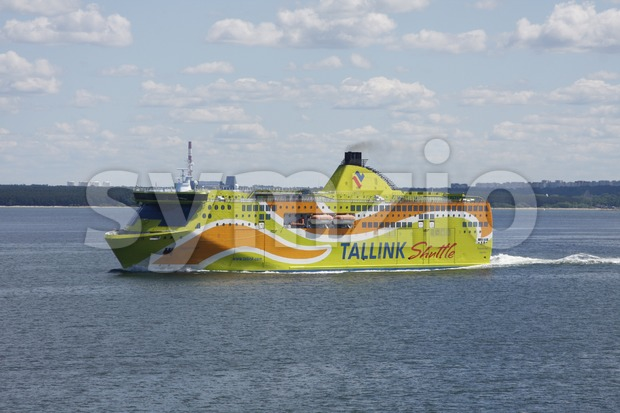 Tallink Shuttle Superstar Boat on the Baltic Sea Stock Photo