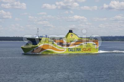 Tallink Shuttle Superstar Boat on the Baltic Sea Stock Photo