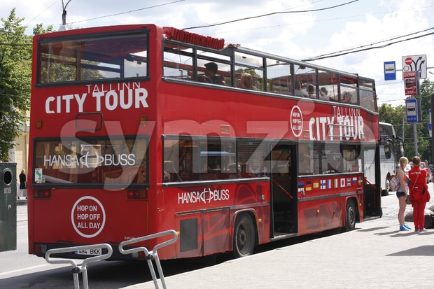 Tallinn City Tour Bus Stock Photo